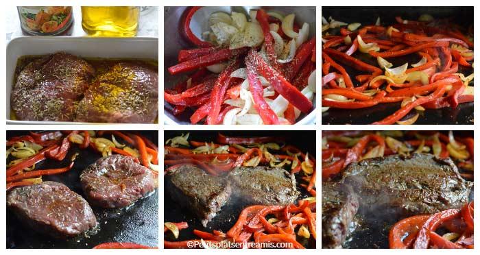 Cuisson tranches de rumsteak aux poivrons grillés à la plancha
