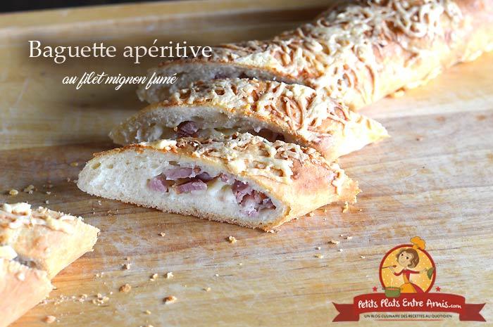 Baguette apéritive au filet mignon fumé