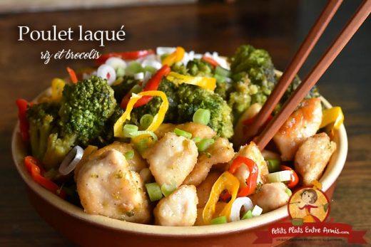 Poulet laqué au riz et brocolis